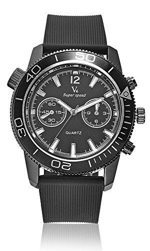 Vogue Fashion V6 LUXUS schwarz Stecker Stunde Uhr Analog Military Mann Business Casual Armbanduhr reloj Geschenk Schwarz