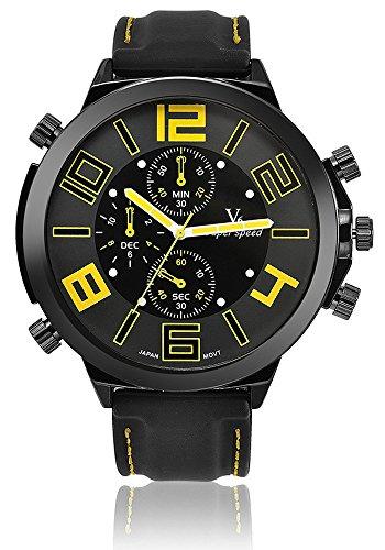 V6 Big Zifferblatt Casual Fashion Armbanduhr Herren Luxus Marke Analog Sport Military Uhren Silikon Quarz relogio Masculino reloj Hombre gelb