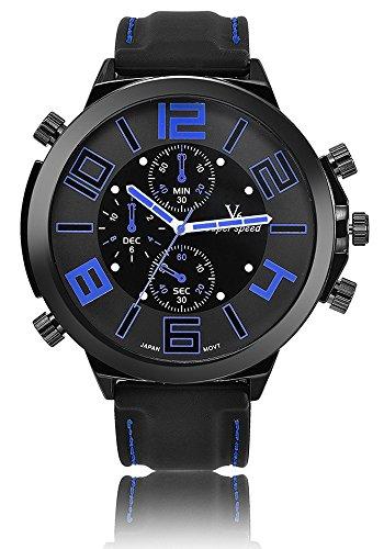 V6 Big Zifferblatt Casual Fashion Armbanduhr Herren Luxus Marke Analog Sport Military Uhren Silikon Quarz relogio Masculino reloj Hombre blau