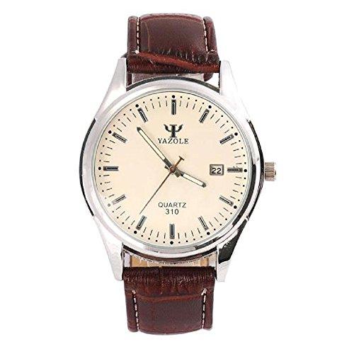 Armbanduhr WINWINTOM Mens Glas Leder Quarz Analog Geschaefts Art Armbanduhr Uhren