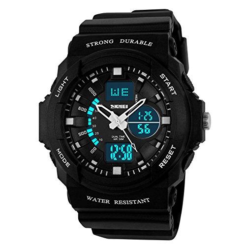 Skmei Sport Armbanduhr fuer Outdoor Bergsteigen oder Wandern 50 m wasserdicht digitale LED Armbanduhr fuer Kinder silber