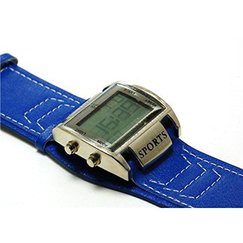 Yess blaue Digitaluhr mit Lederimitat Armband mit Metallskala