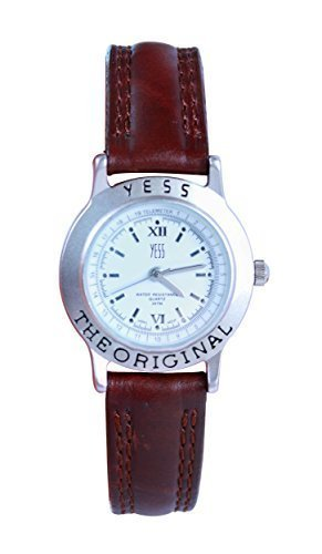 Damenmode ja Marke White Zifferblatt 30mm braun PU Leder Armband Analog Uhr