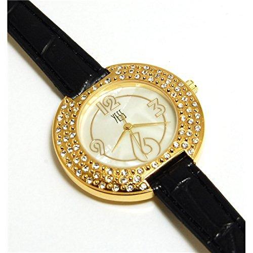 YESS elegante schwarze und goldene elegante runde Uhr mit Zirkonia