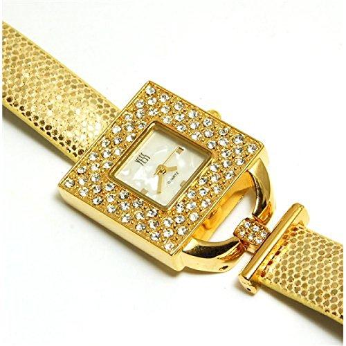 YESS goldene elegante quadratische Uhr mit Zirkonia