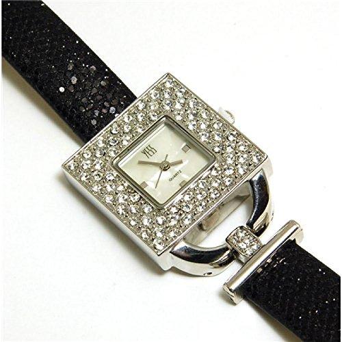 YESS schwarze und silberne elegante quadratische Uhr mit Zirkonia