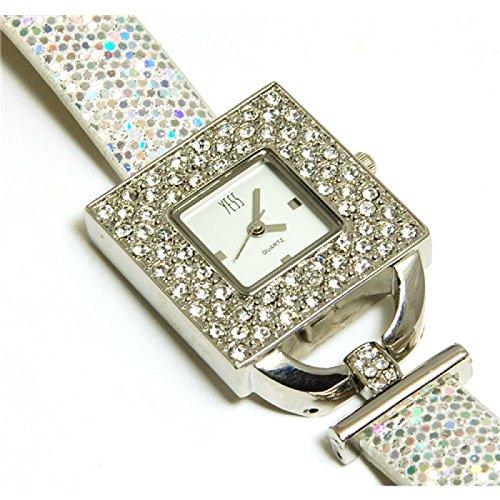 YESS silberne elegante quadratische Uhr mit Zirkonia