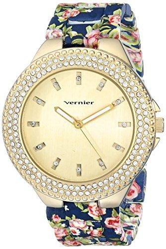 Vernier Damen vnr11167bu rhinestone accented goldfarbene Armbanduhr
