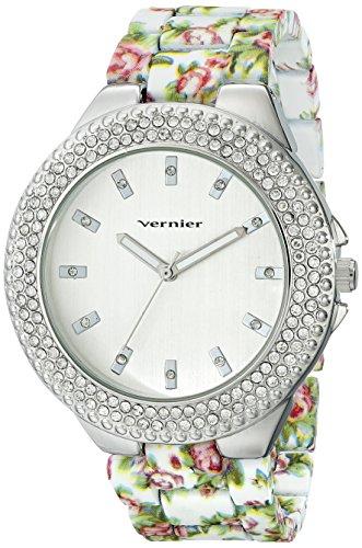 Vernier Damen vnr11167wt rhinestone accented silberfarbenes Armbanduhr