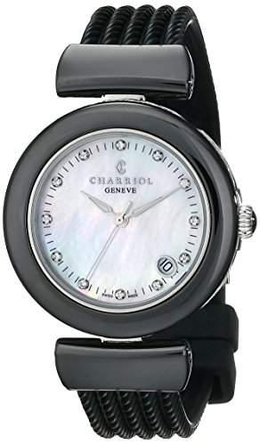 Charriol Ael Damen 33mm Schwarz Kautschuk Armband Saphirglas Uhr AE33CB173003