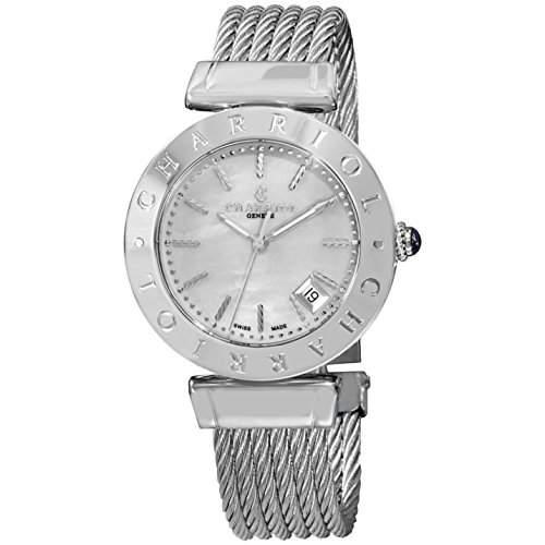 Charriol Alexandre Damen 34mm Silber Edelstahl Armband & Gehaeuse Uhr AMS51002