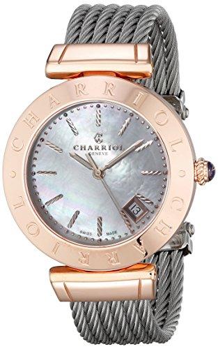 Charriol Alexandre Damen 34mm Silber delstahl Armband Gehaeuse Uhr AMP 51 004