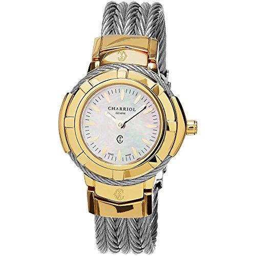 Charriol Celtic Damen Armbanduhr 32mm Armband Edelstahl Gehaeuse Schweizer Quarz Analog CE426Y1 640 006