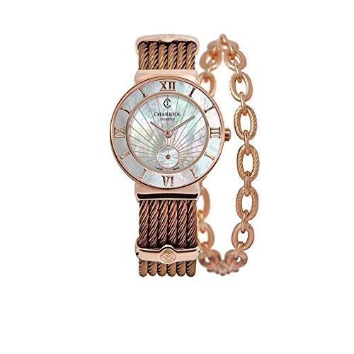 Charriol St Tropez Damen Armbanduhr 30mm Armband Edelstahl Bronze Saphirglas Batterie ST30PI 563 010