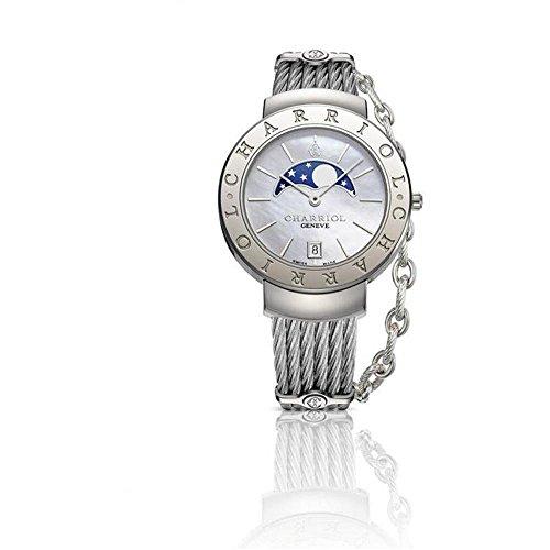 Charriol St Tropez Damen Armbanduhr 35mm Armband Edelstahl Gehaeuse Saphirglas Batterie ST35CS 560 001