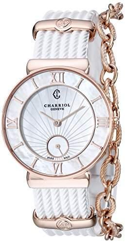 Charriol St-tropez Damen 30mm Weiss Kautschuk Armband Uhr ST30PI174010