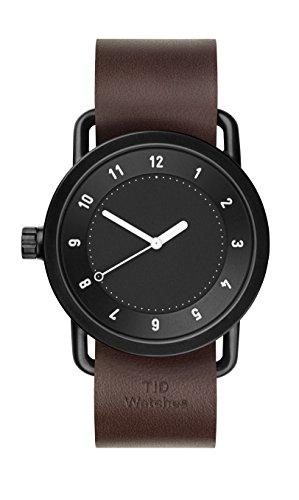 Tid Nr 1 schwarz nussbaum Leder Watch