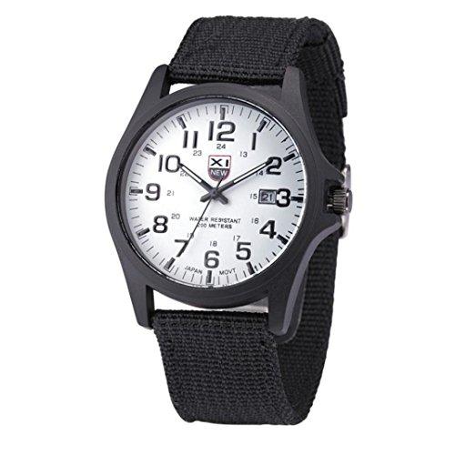 Armbanduhren fuer Maenner Xjp Casual Quartz mit Hakenverschluss Uhren Canvas Strap
