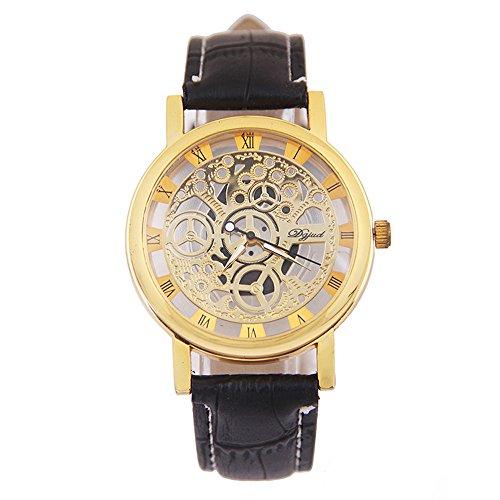 Armbanduhren der Maenner Xjp Art und Weisepu lederner Buegel Armbanduhr Golden
