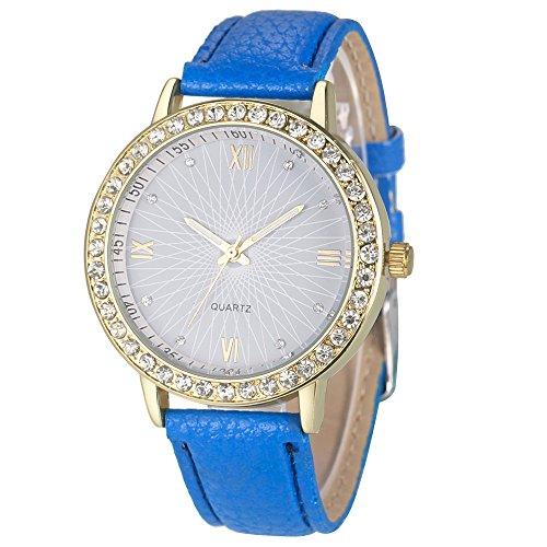 Armbanduhren fuer Frauen Xjp Kurz und Vogue Analoge mit Hakenschnalle Lederband Blau