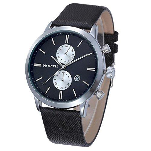 Armbanduhren fuer Maenner Xjp Beilaeufig Wasserdichte Uhr mit 5 Needle Lederband Uhren Geschenke Schwarz