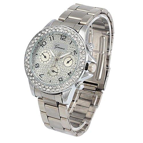 Armbanduhren fuer Frauen Xjp Beilaeufige Rhinestone Quarz Analoge Uhren mit Edelstahl Buegel Silber