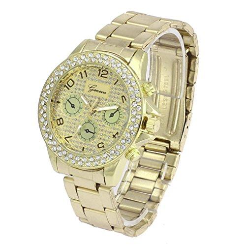 Armbanduhren fuer Frauen Xjp Beilaeufige Rhinestone Quarz Analoge Uhren mit Edelstahl Buegel Golden