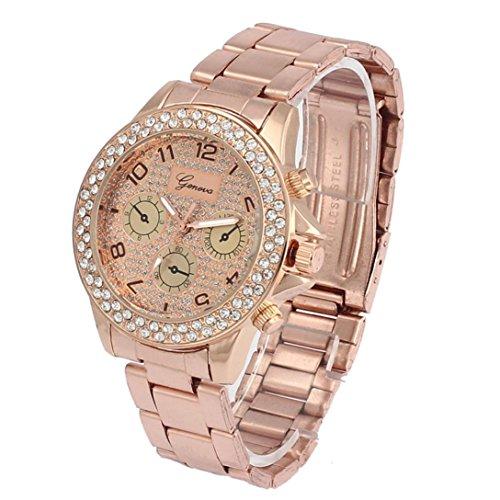 Armbanduhren fuer Frauen Xjp Beilaeufige Rhinestone Quarz Analoge Uhren mit Edelstahl Buegel Rosen Gold
