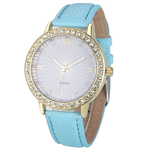 Armbanduhren fuer Damen Xjp Fashion Rhinestone Analog Quartz Watches with PU Leather Band