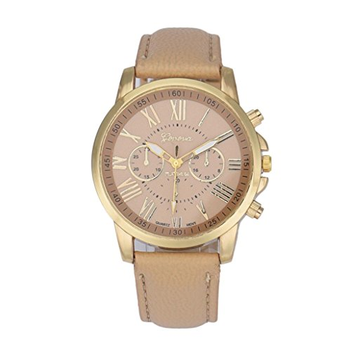 Armbanduhren fuer Frauen Xjp Roman Numerals Analog Quartz Watches with Faux Leather Strap Beige