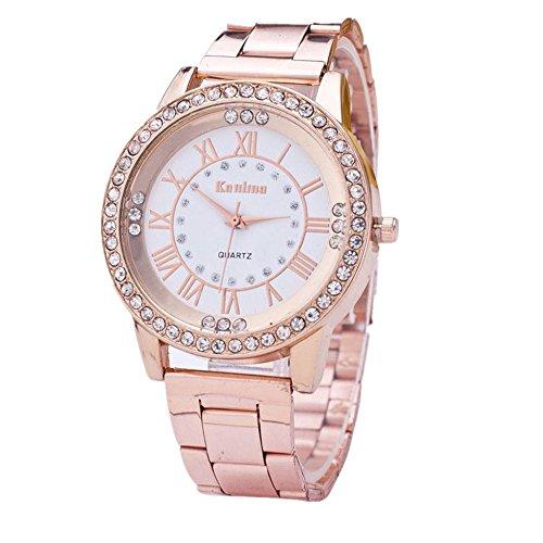 Armbanduhren Frauen Xjp Casual Rhinestone Quartz Analoge Armbanduhr Geschenke mit Lederarmband fuer Frauen Rosen Gold