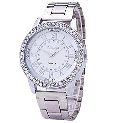 Armbanduhren fuer Maedchen Xjp Casual Rhinestone Quartz Analoge Armbanduhr Armband mit Lederarmband fuer Frauen