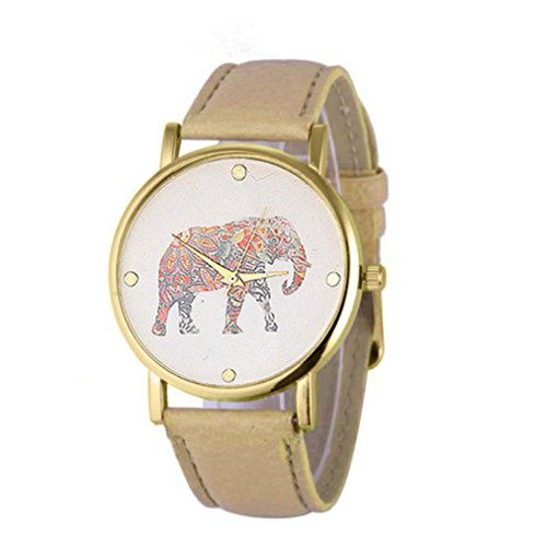 Womens Watches Bracelet Xjp Fashion and Casual Quartz Wristwatch Leather Strap with Elephant Printing Pattern