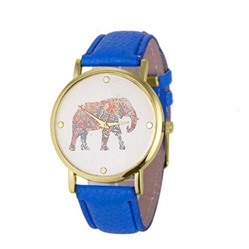Watches Bracelet for Women Xjp Fashion and Casual Quartz Wristwatch Leather Strap with Elephant Printing Pattern