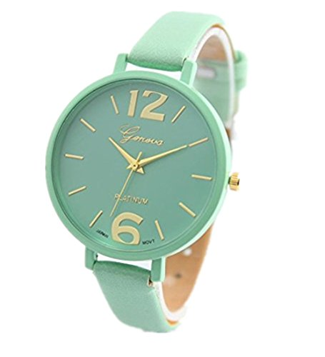 Frauen Armbanduhr Xjp Stylish Watches with Analog Quartz Wristwatch Leather Strap Mint Green