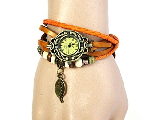 Xjp Retro Armband Leder Buegel Webart Armband mit Blatt und Korn Schnur