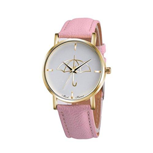Watch Leather Band Pink Xjp Fashion Womens Watches Bracelet Analog Quartz Wristwatch with Umbrella Pattern Dial White