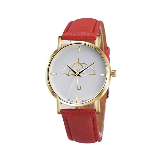 Watch Leather Band Red Xjp Fashion Womens Watches Bracelet Analog Quartz Wristwatch with Umbrella Pattern Dial White