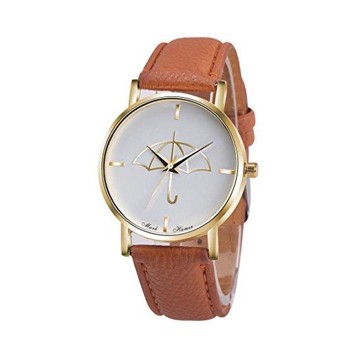 Watch Leather Band Brown Xjp Fashion Womens Watches Bracelet Analog Quartz Wristwatch with Umbrella Pattern Dial White