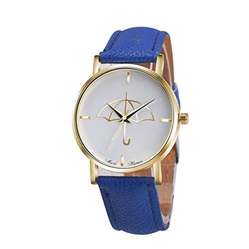 Watch Leather Band Blue Xjp Fashion Womens Watches Bracelet Analog Quartz Wristwatch with Umbrella Pattern Dial White