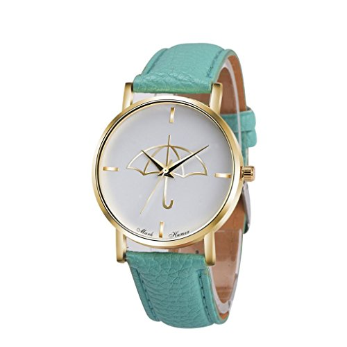 Watch Leather Band Green Xjp Fashion Womens Watches Bracelet Analog Quartz Wristwatch with Umbrella Pattern Dial White