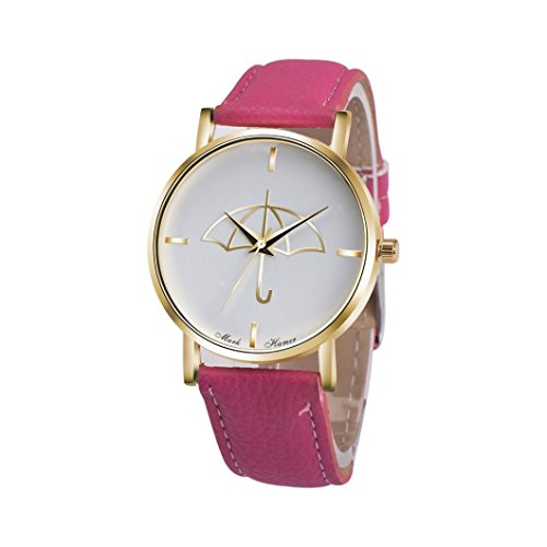 Watch Leather Band Hot Pink Xjp Fashion Womens Watches Bracelet Analog Quartz Wristwatch with Umbrella Pattern Dial White