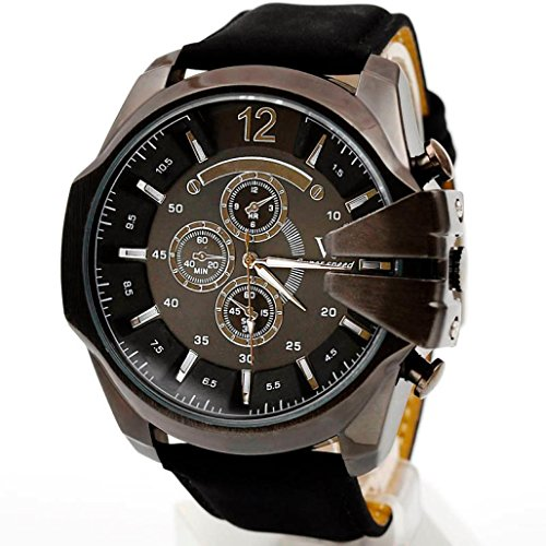 Mens Sports Wristwatches Xjp Casual Analog Quartz Watch with Leather Strap Black