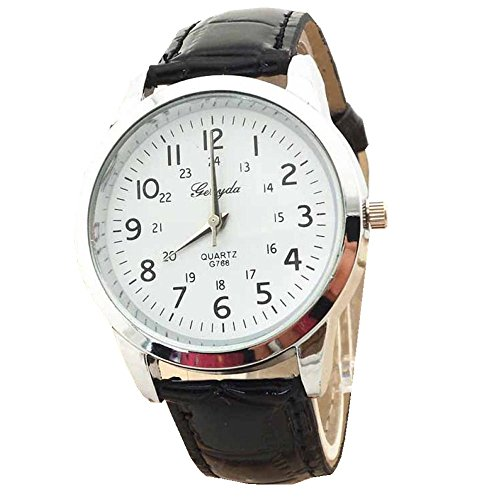 Xjp Elegant Analog Quartz Mens Wristwatches with PU Leather Strap