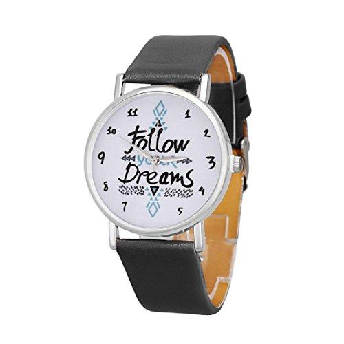 Womens Watches Bracelet Xjp Casual Simple Dial Alloy Quartz Wristwatches Leather Strap Black