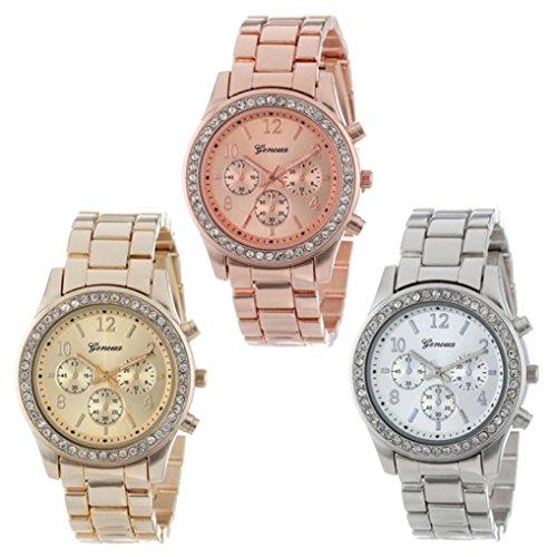 Womens Watches 3 Pcs Xjp Classic Analog Quartz Wristwatch Bracelet Rose Gold Silver Gold