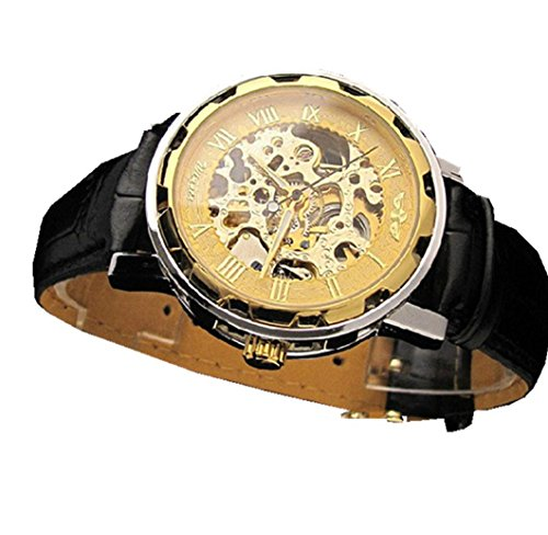 Mens Watches Xjp Classical Mechanical Watches with Stainless Steel Watch Case Leather Band