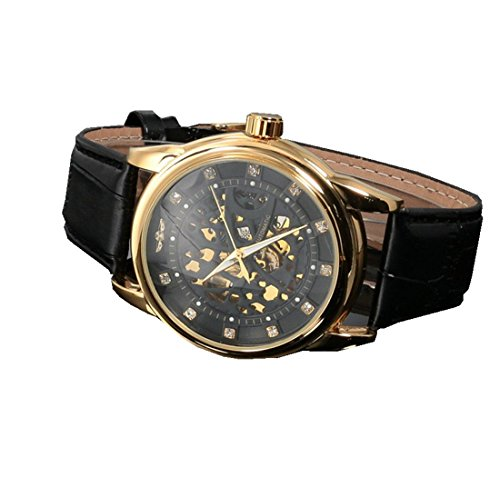 Watches Black Xjp Classical Mechanical Mens Wristwatches with Leather Strap
