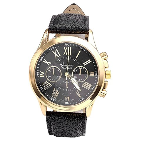 Womens Watches Black Xjp Elegant Roman Numerals Wristwatch with Analog Quartz