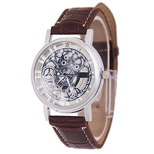 Mens Watches Brown Xjp Fashion PU Leather Strap Wristwatch